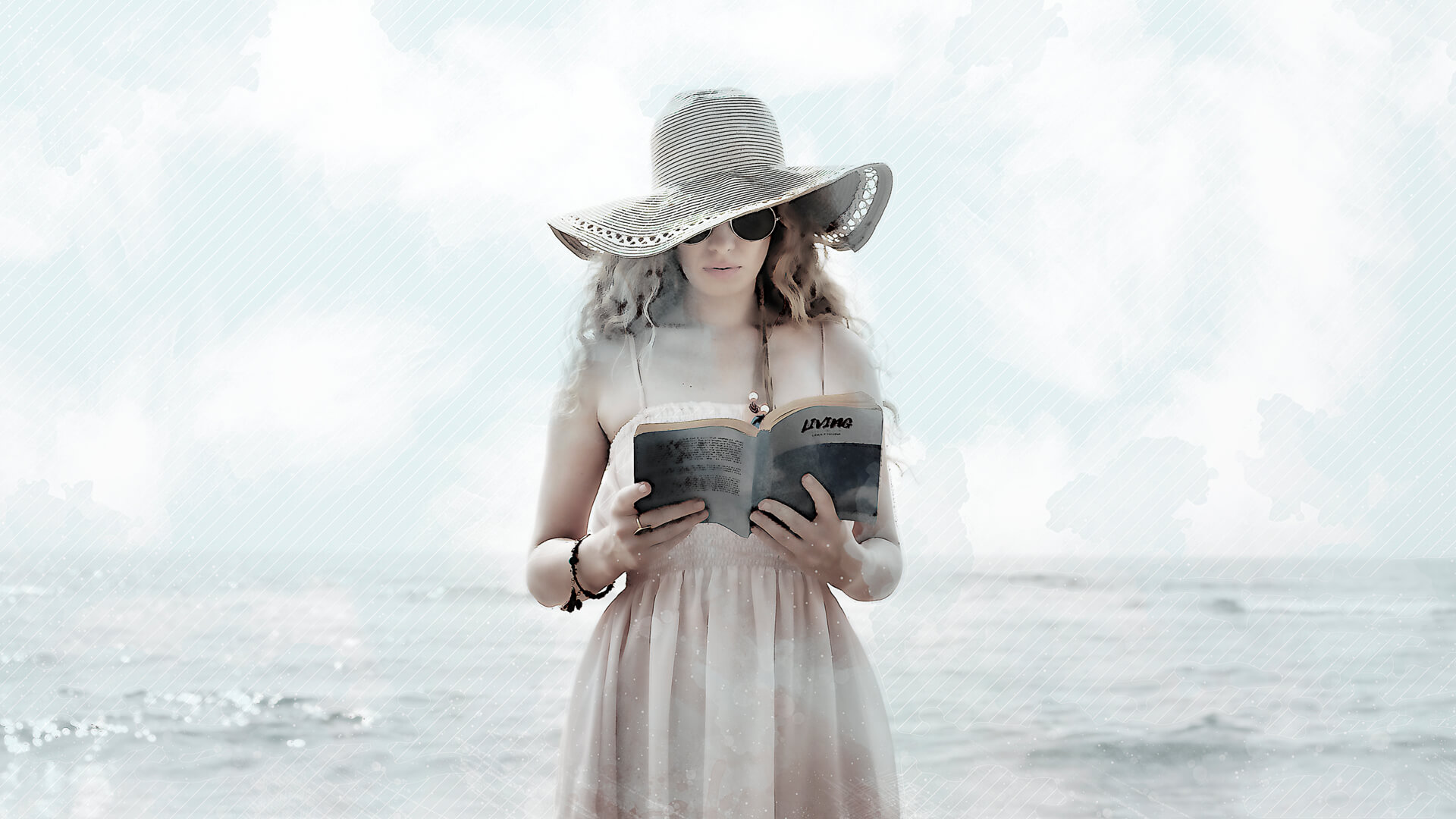 Beach Reading Woman in Watercolor Style